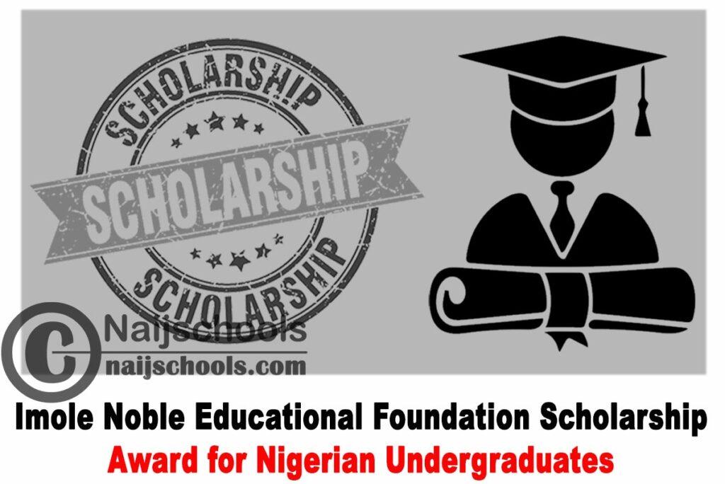Imole Noble Educational Foundation (INEF) Scholarship Award 2021 for Nigerian Undergraduates | APPLY NOW