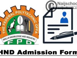 Federal Polytechnic Offa HND Admission Form for 2021/2022 Academic Session   APPLY NOW