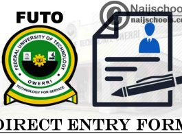Federal University of Technology Owerri (FUTO) Direct Entry Screening Form for 2021/2022 Academic Session | APPLY NOW