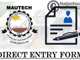 Modibbo Adama University of Technology (MAUTECH) Direct Entry Form for 2021/2022 Academic Session | APPLY NOW